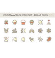 coronavirus and illness icon set design 48x48 vector image vector image