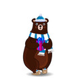 cute cartoon bear in santa hat and scarf holding vector image vector image
