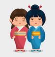 cute japanese girls group kawaii style vector image