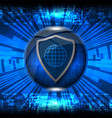 cyber security shield vector image vector image