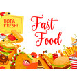 fast food snack and drink poster for menu design vector image vector image