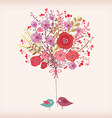 floral spring card watercolor flowers and bird vector image vector image