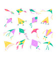 flying kites different shapes colors air toys vector image