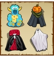 Four fancy costume for other theme parties vector image