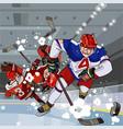 funny cartoon hockey players play hockey vector image vector image