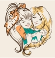 Girl hugging girlfriend Two happy sisters vector image