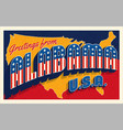 greetings from alabama usa retro style postcard vector image vector image