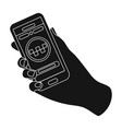 hand holding a phone to call for order taksi vector image vector image