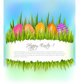 happy easter background with set of colorful eggs vector image vector image