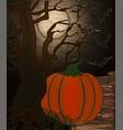 happy halloween banner with tree and pumpkin vector image vector image