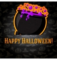 Happy halloween greeting card with cauldron and vector image vector image