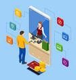isometric online shopping store with mobile vector image