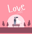 lovely young joyful couple hug in the moon light vector image vector image