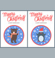 merry christmas and happy winter days bear penguin vector image vector image