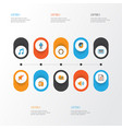 music flat icons set collection of pianoforte vector image vector image