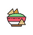 nachos mexican fast food guacamole chili dish vector image