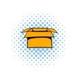 Open empty cardboard icon comics style vector image