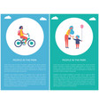 people in park girl riding bike mother daughter vector image vector image