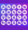 robot dog shape carved flat icons set vector image