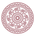 Round Mehndi Indian Henna brown tattoo pattern vector image