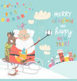 santa take a selfie with reindeer and fox vector image vector image