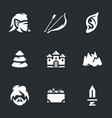 set elves archer icons vector image vector image