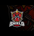 shield and guns sport logo design vector image vector image