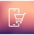 Shopping cart signboard thin line icon vector image