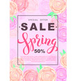 spring sale banner with rose flowers on rose vector image vector image