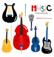 stringed musical instruments icons isolated vector image vector image