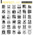 travel cruise vacation black mini concept icons vector image vector image