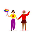 two lesbians with lgqbq flag holding hands vector image vector image