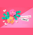 valentines day sale template pink paper flower vector image