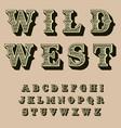 western retro alphabet vintage typography vector image