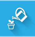 white line watering can sprays water drops above vector image vector image