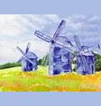 windmills of happiness oil canvas vector image vector image