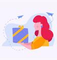 woman with big gift box flat vector image vector image