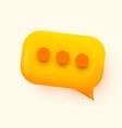 yellow glossy speech bubble social vector image vector image