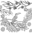 Zentangle stylized toucan in flower garden vector image vector image