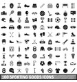 100 sporting goods icons set simple style vector image vector image