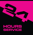 24 hour service icon in pink and black color vector image vector image