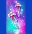 background with glowing vivid jellyfishes vector image