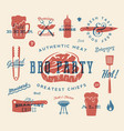 barbecue party retro signs and icons vector image