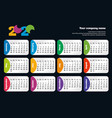 bright modern horizontal calendar template for vector image vector image