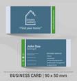 business card template real estate agency design vector image vector image