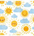 cartoon sun seamless pattern print for nursery vector image vector image