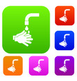 cleaning hands set color collection vector image