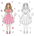 coloring book doll vector image vector image