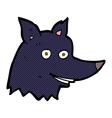 comic cartoon wolf head vector image vector image
