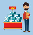 consumer with shopping bag of groceries vector image vector image